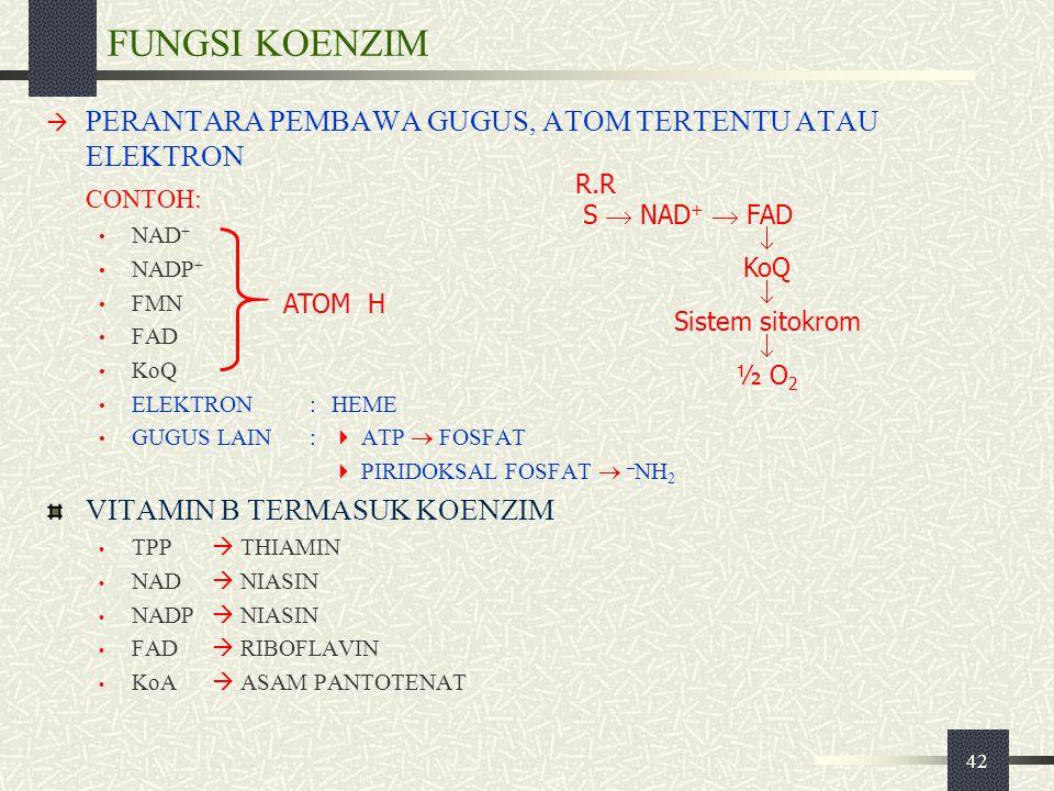42 FUNGSI KOENZIM  PERANTARA PEMBAWA GUGUS, ATOM TERTENTU ATAU ELEKTRON CONTOH: NAD + NADP + FMN FAD KoQ ELEKTRON:HEME GUGUS LAIN:  ATP  FOSFAT  P