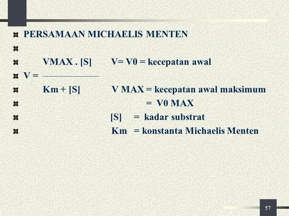57 PERSAMAAN MICHAELIS MENTEN VMAX. [S] V= V0 = kecepatan awal V = Km + [S] V MAX = kecepatan awal maksimum = V0 MAX [S] = kadar substrat Km = konstan