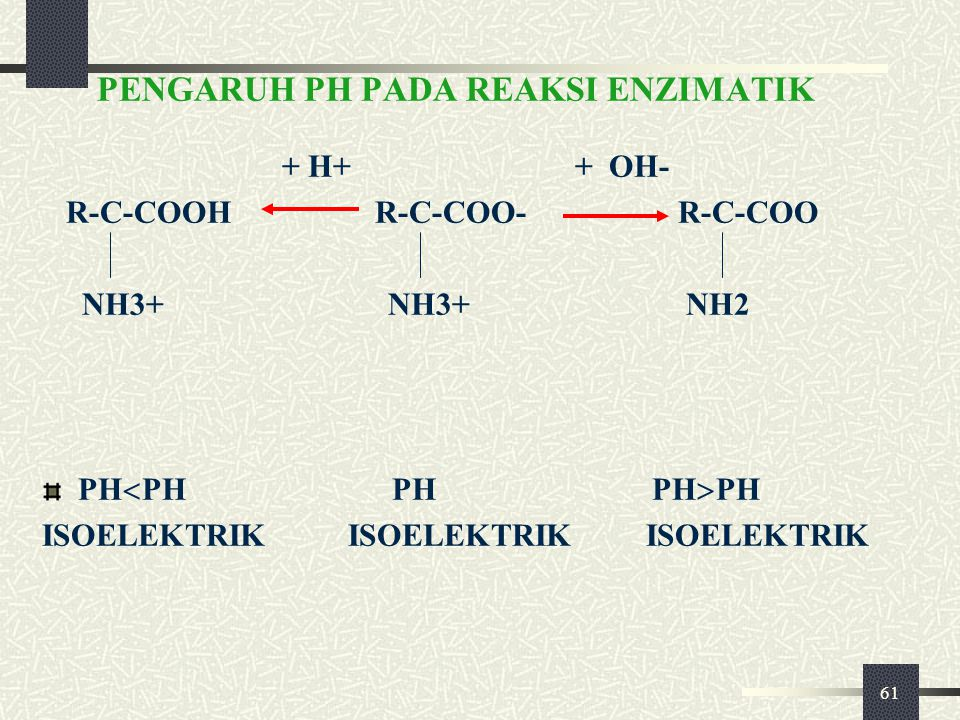 61 PENGARUH PH PADA REAKSI ENZIMATIK + H+ + OH- R-C-COOH R-C-COO- R-C-COO NH3+ NH3+ NH2 PH  PH PH PH  PH ISOELEKTRIK ISOELEKTRIK ISOELEKTRIK