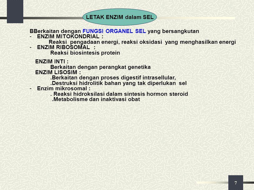 7 BBerkaitan dengan FUNGSI ORGANEL SEL yang bersangkutan - ENZIM MITOKONDRIAL : Reaksi pengadaan energi, reaksi oksidasi yang menghasilkan energi - EN