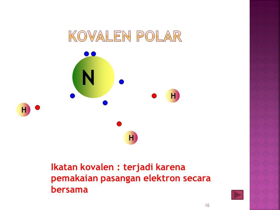 Kovalen polar PEI tertarik lebih kuat ke salah satu atom Tdd 2 unsur berbeda Memiliki perbedaan keelektronegatifan Bentuk molekul tidak simetris Ada P