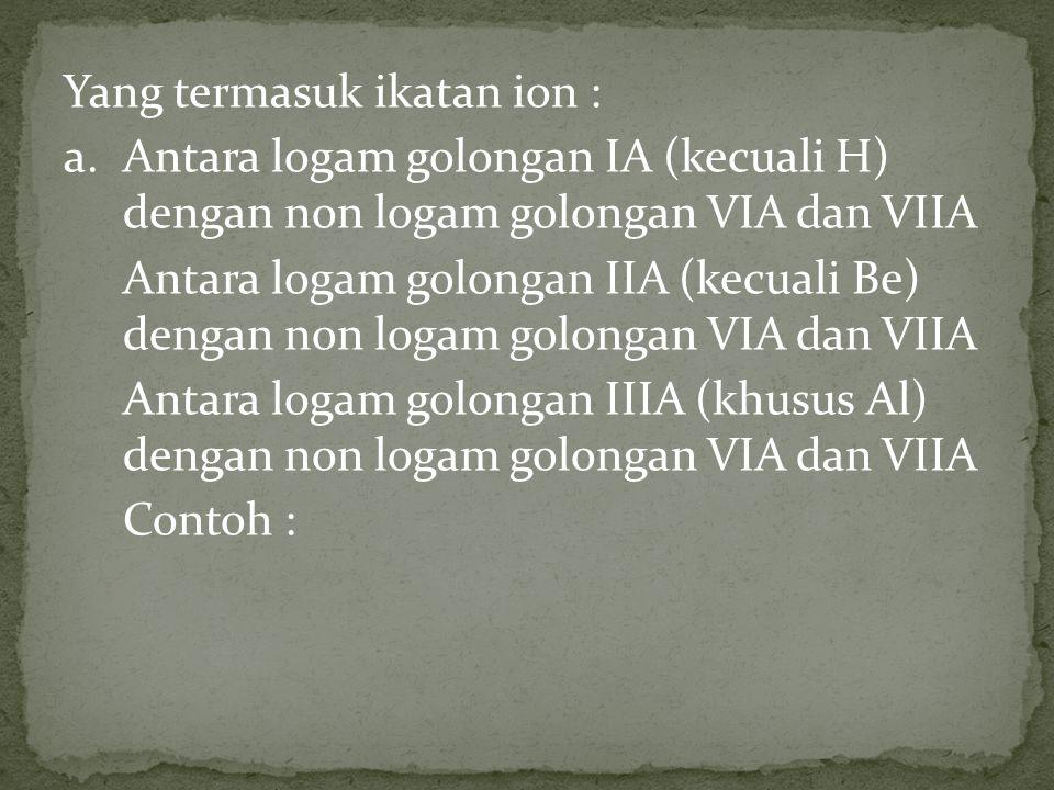 Yang termasuk ikatan ion : a.Antara logam golongan IA (kecuali H) dengan non logam golongan VIA dan VIIA Antara logam golongan IIA (kecuali Be) dengan
