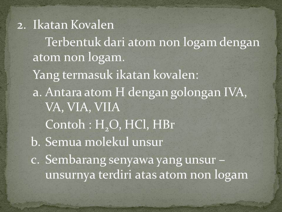 2. Ikatan Kovalen Terbentuk dari atom non logam dengan atom non logam. Yang termasuk ikatan kovalen: a. Antara atom H dengan golongan IVA, VA, VIA, VI