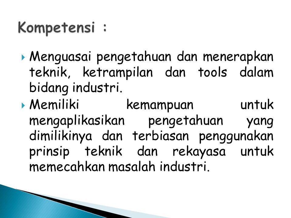  Menguasai pengetahuan dan menerapkan teknik, ketrampilan dan tools dalam bidang industri.