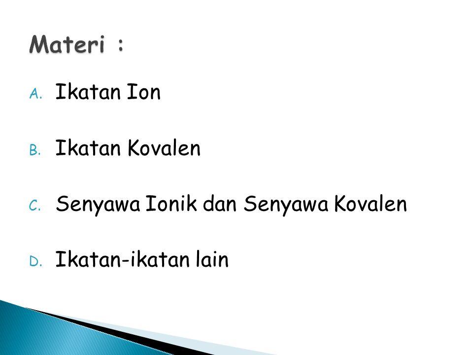 A. Ikatan Ion B. Ikatan Kovalen C. Senyawa Ionik dan Senyawa Kovalen D. Ikatan-ikatan lain
