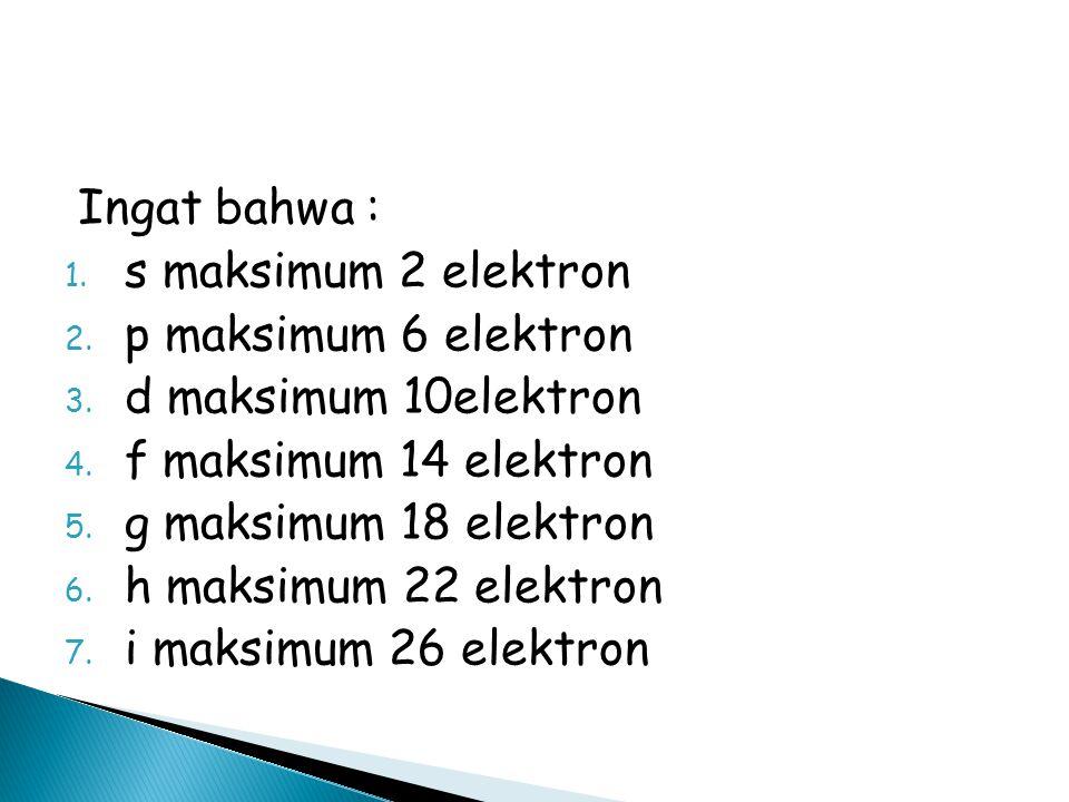 Ingat bahwa : 1.s maksimum 2 elektron 2. p maksimum 6 elektron 3.