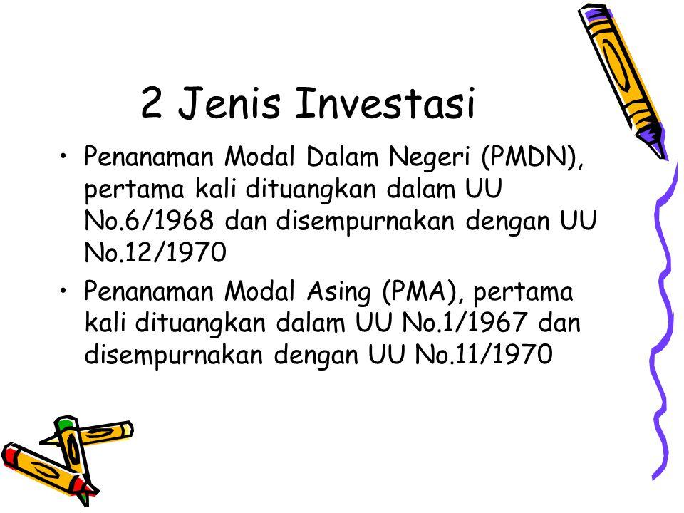 2 Jenis Investasi Penanaman Modal Dalam Negeri (PMDN), pertama kali dituangkan dalam UU No.6/1968 dan disempurnakan dengan UU No.12/1970 Penanaman Modal Asing (PMA), pertama kali dituangkan dalam UU No.1/1967 dan disempurnakan dengan UU No.11/1970