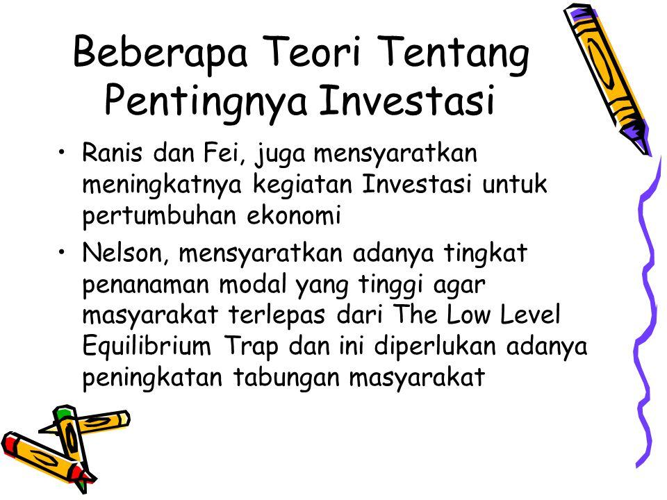 Beberapa Teori Tentang Pentingnya Investasi Ranis dan Fei, juga mensyaratkan meningkatnya kegiatan Investasi untuk pertumbuhan ekonomi Nelson, mensyaratkan adanya tingkat penanaman modal yang tinggi agar masyarakat terlepas dari The Low Level Equilibrium Trap dan ini diperlukan adanya peningkatan tabungan masyarakat