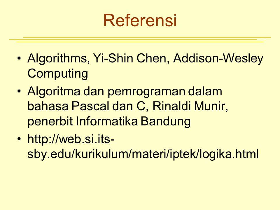 Referensi Algorithms, Yi-Shin Chen, Addison-Wesley Computing Algoritma dan pemrograman dalam bahasa Pascal dan C, Rinaldi Munir, penerbit Informatika
