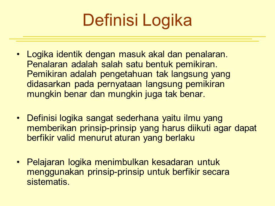 Definisi Logika Logika identik dengan masuk akal dan penalaran. Penalaran adalah salah satu bentuk pemikiran. Pemikiran adalah pengetahuan tak langsun