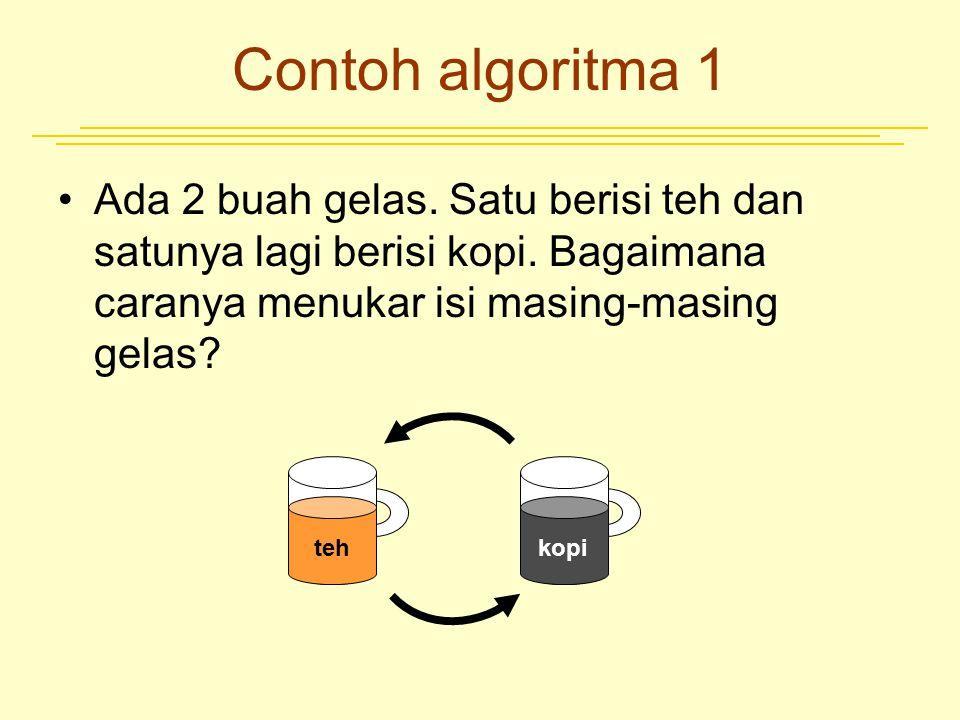 Contoh algoritma 1 Algoritma –Siapkan gelas cadangan X –Tuangkan gelas yang berisi teh ke gelas cadangan –Tuangkan gelas yang berisi kopi ke gelas yang awalnya dipakai teh –Tuangkan isi gelas cadangan ke gelas yang awalnya berisi kopi teh kopi teh X X kopi X