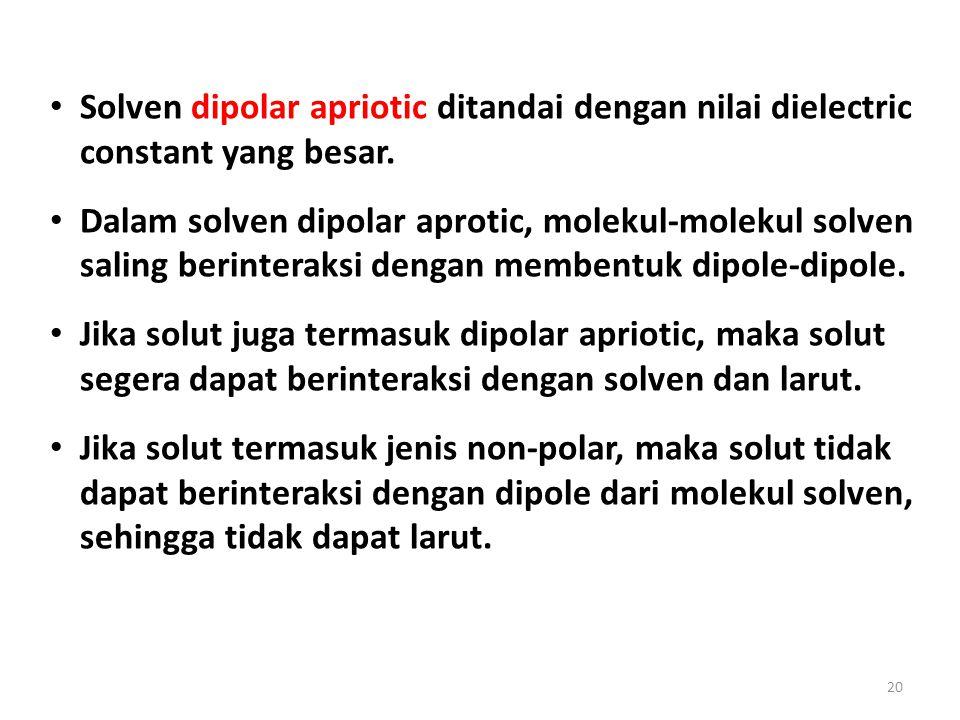 20 Solven dipolar apriotic ditandai dengan nilai dielectric constant yang besar. Dalam solven dipolar aprotic, molekul-molekul solven saling berintera