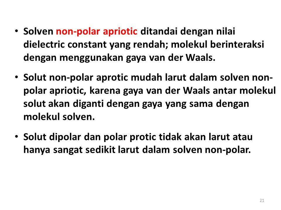 21 Solven non-polar apriotic ditandai dengan nilai dielectric constant yang rendah; molekul berinteraksi dengan menggunakan gaya van der Waals. Solut