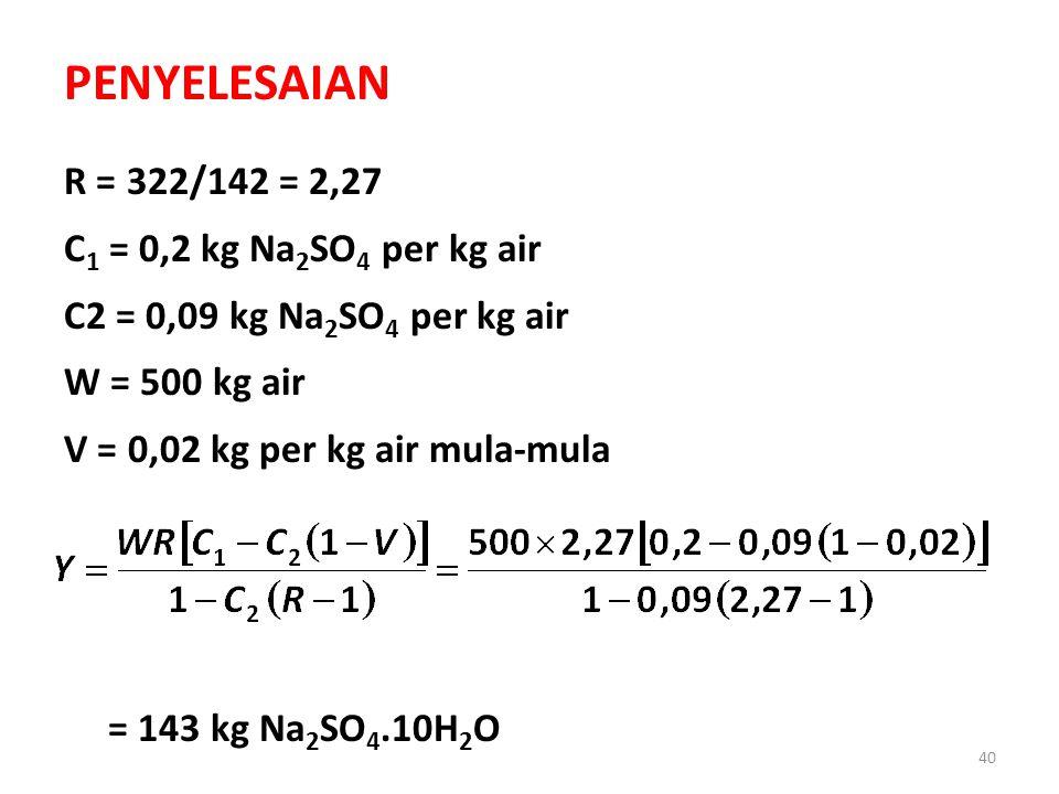 40 PENYELESAIAN R = 322/142 = 2,27 C 1 = 0,2 kg Na 2 SO 4 per kg air C2 = 0,09 kg Na 2 SO 4 per kg air W = 500 kg air V = 0,02 kg per kg air mula-mula = 143 kg Na 2 SO 4.10H 2 O