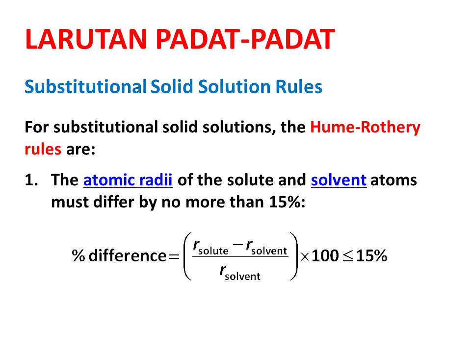 6 2.The crystal structures of solute and solvent must match.crystal structures 3.Complete solubility occurs when the solvent and solute have the same valency.