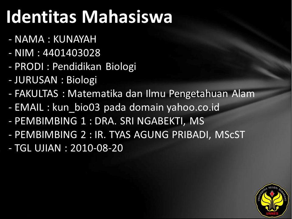 Identitas Mahasiswa - NAMA : KUNAYAH - NIM : 4401403028 - PRODI : Pendidikan Biologi - JURUSAN : Biologi - FAKULTAS : Matematika dan Ilmu Pengetahuan Alam - EMAIL : kun_bio03 pada domain yahoo.co.id - PEMBIMBING 1 : DRA.