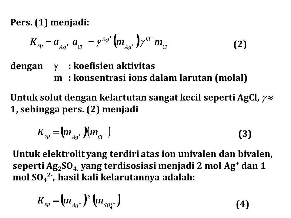 Pers. (1) menjadi: dengan  : koefisien aktivitas m : konsentrasi ions dalam larutan (molal) Untuk solut dengan kelartutan sangat kecil seperti AgCl,