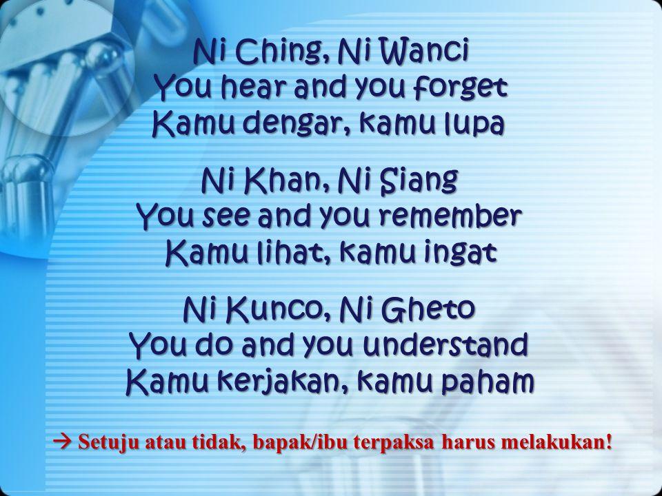 Ni Ching, Ni Wanci You hear and you forget Kamu dengar, kamu lupa Ni Khan, Ni Siang You see and you remember Kamu lihat, kamu ingat Ni Kunco, Ni Gheto You do and you understand Kamu kerjakan, kamu paham  Setuju  Setuju atau tidak, bapak/ibu terpaksa harus melakukan!