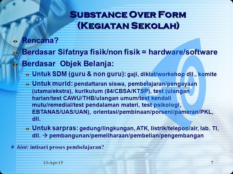 10-Apr-157 7 Substance Over Form (Kegiatan Sekolah) Rencana? Berdasar Sifatnya fisik/non fisik = hardware/software Berdasar Objek Belanja: Untuk SDM (