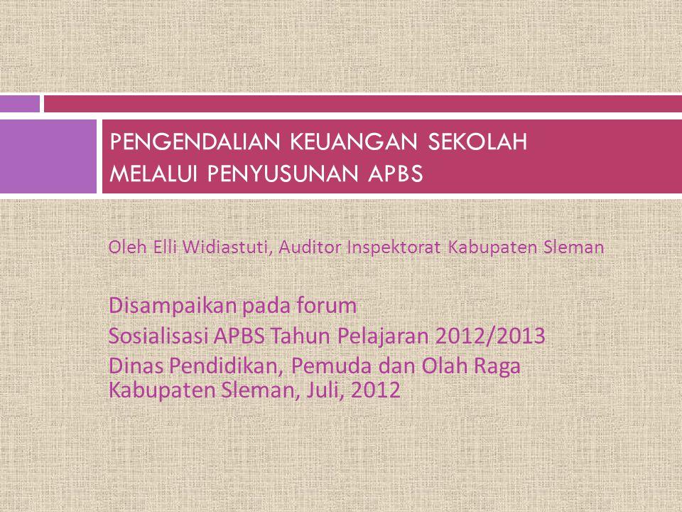 Oleh Elli Widiastuti, Auditor Inspektorat Kabupaten Sleman Disampaikan pada forum Sosialisasi APBS Tahun Pelajaran 2012/2013 Dinas Pendidikan, Pemuda
