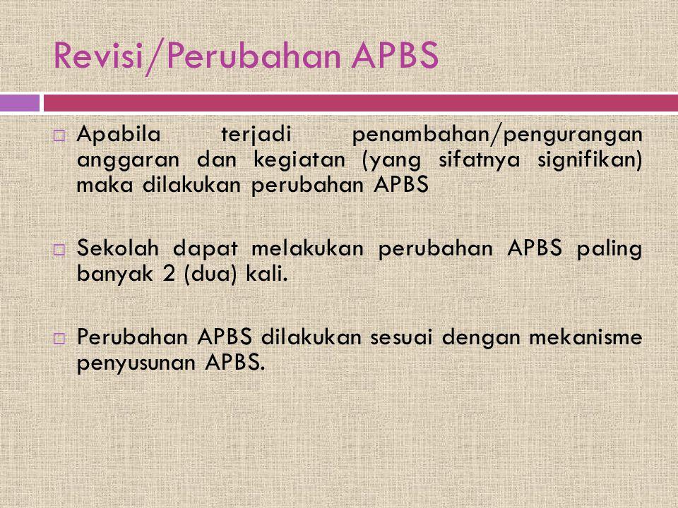 Revisi/Perubahan APBS  Apabila terjadi penambahan/pengurangan anggaran dan kegiatan (yang sifatnya signifikan) maka dilakukan perubahan APBS  Sekola