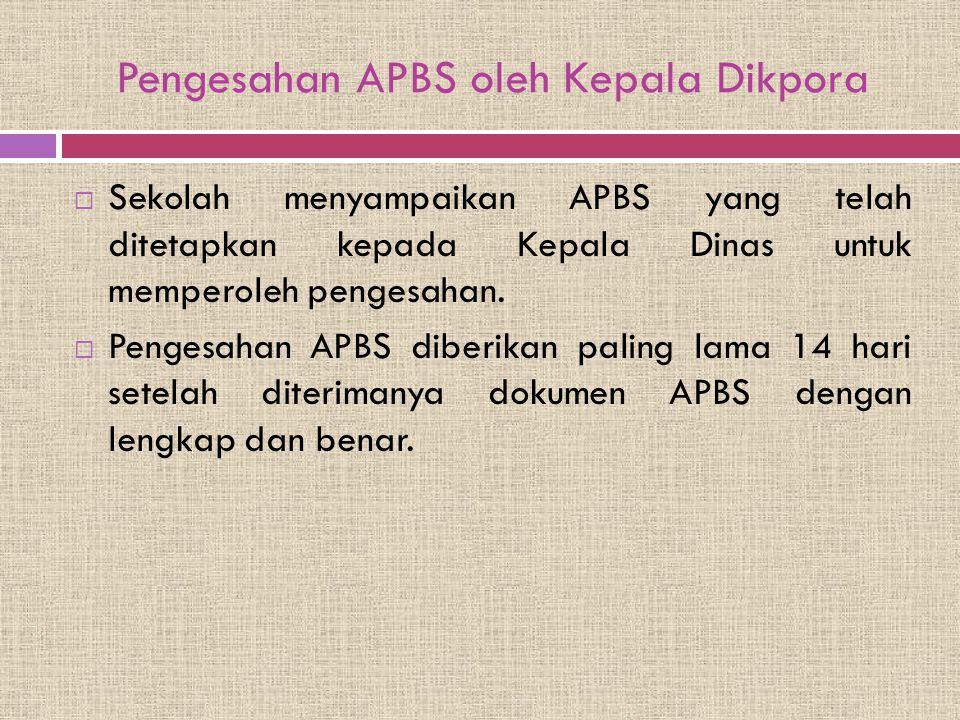 Pengesahan APBS oleh Kepala Dikpora  Sekolah menyampaikan APBS yang telah ditetapkan kepada Kepala Dinas untuk memperoleh pengesahan.  Pengesahan AP