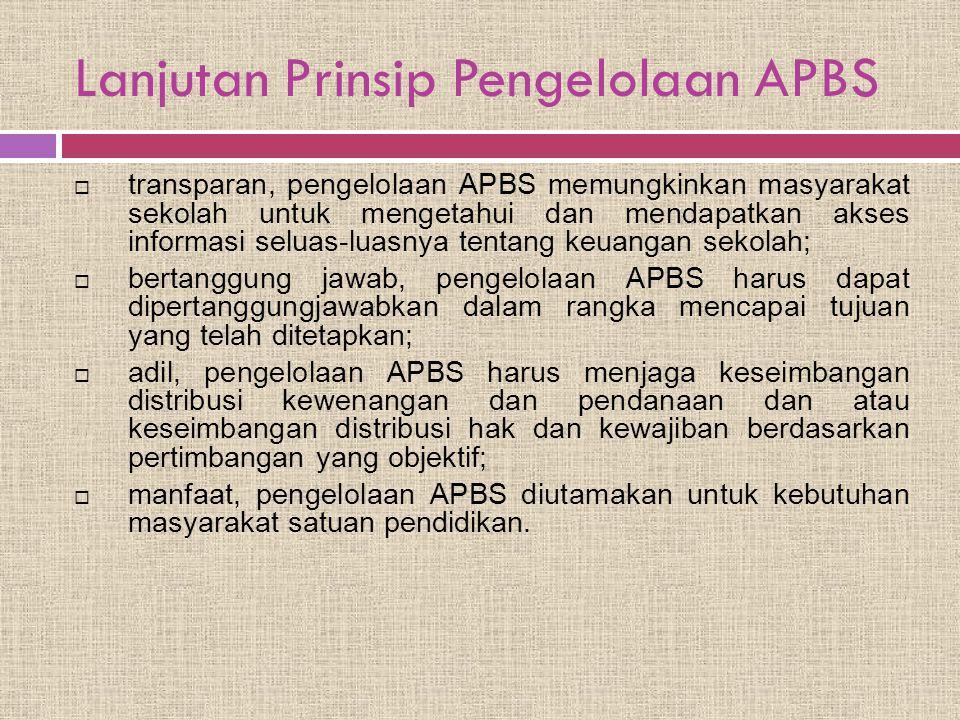 Lanjutan Prinsip Pengelolaan APBS  transparan, pengelolaan APBS memungkinkan masyarakat sekolah untuk mengetahui dan mendapatkan akses informasi selu