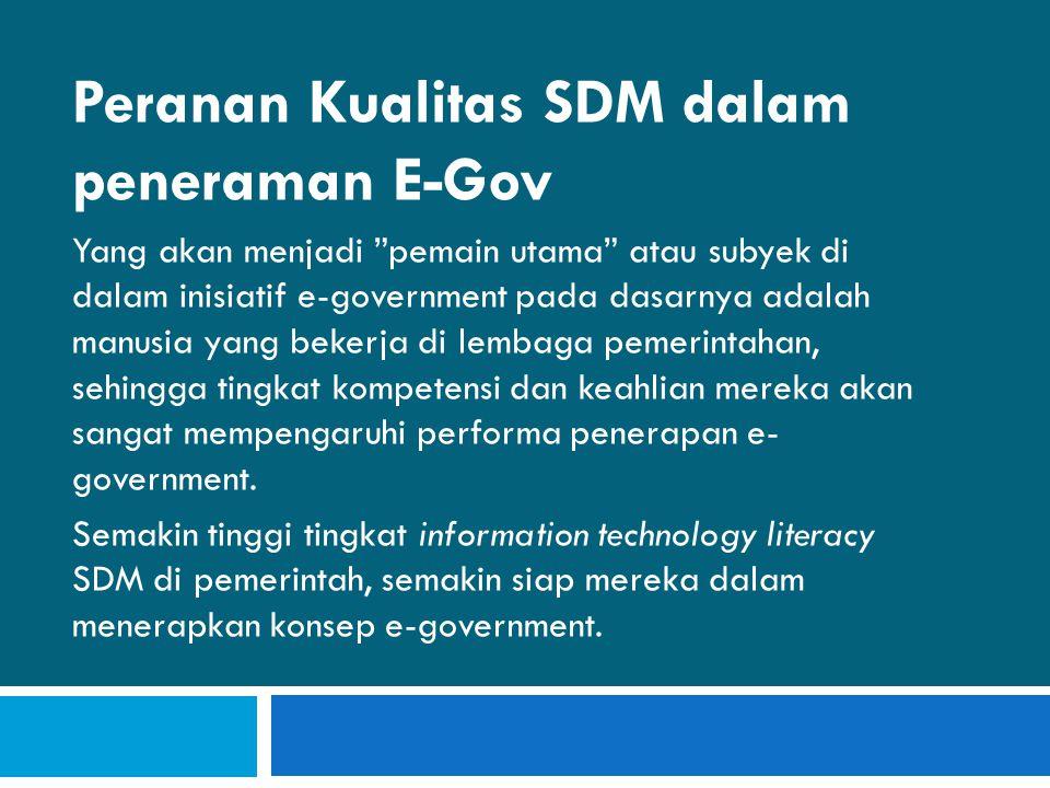 REKOMENDASI Terobosan untuk mengurangi kesenjangan SDM harus dilakukan ini untuk mempercepat tercapainya target/cita- cata, dari RIP E-Gov di Kabupaten Sleman.