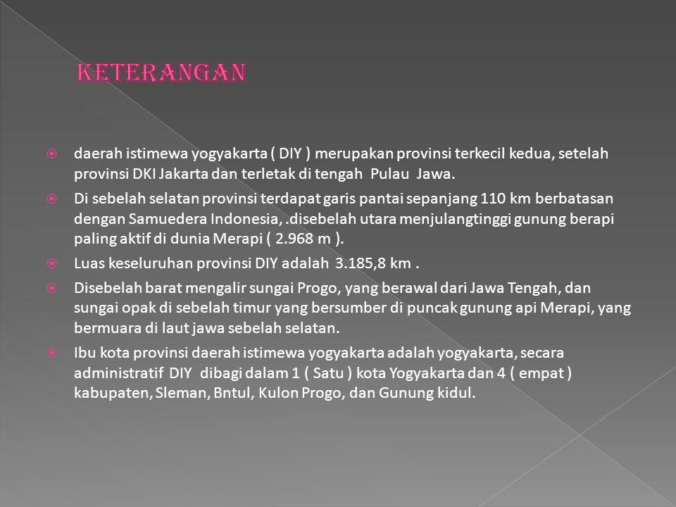  daerah istimewa yogyakarta ( DIY ) merupakan provinsi terkecil kedua, setelah provinsi DKI Jakarta dan terletak di tengah Pulau Jawa.  Di sebelah s