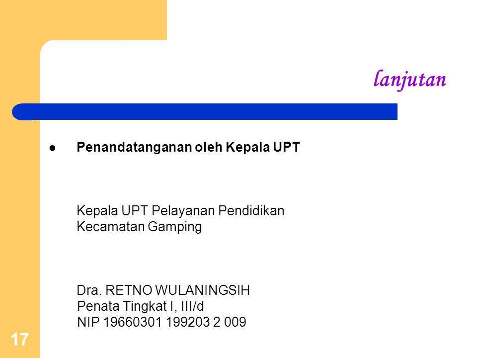 17 lanjutan Penandatanganan oleh Kepala UPT Kepala UPT Pelayanan Pendidikan Kecamatan Gamping Dra. RETNO WULANINGSIH Penata Tingkat I, III/d NIP 19660