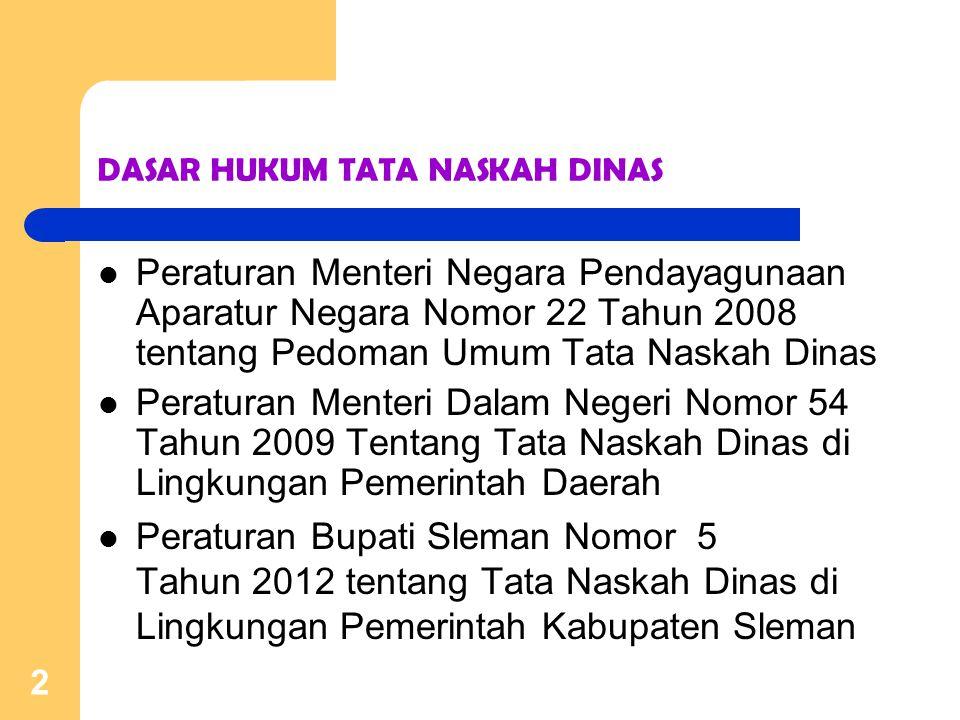 2 DASAR HUKUM TATA NASKAH DINAS Peraturan Menteri Negara Pendayagunaan Aparatur Negara Nomor 22 Tahun 2008 tentang Pedoman Umum Tata Naskah Dinas Pera