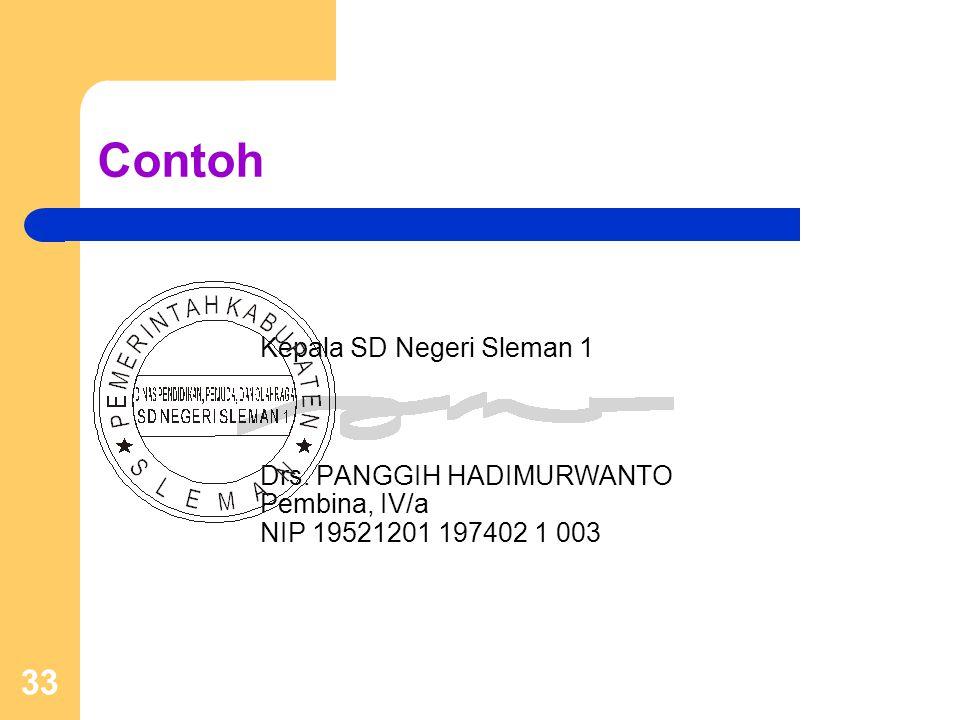 33 Contoh Kepala SD Negeri Sleman 1 Drs. PANGGIH HADIMURWANTO Pembina, IV/a NIP 19521201 197402 1 003