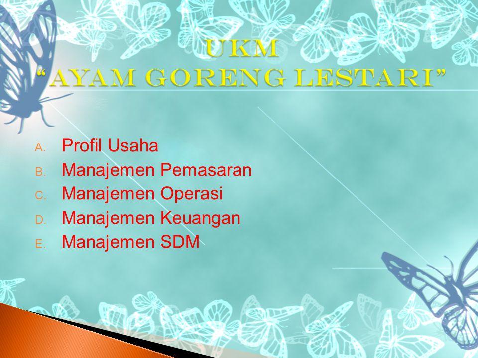  Profil Usaha  Manajemen Pemasaran  Manajemen Operasi  Manajemen Keuangan  Manajemen SDM