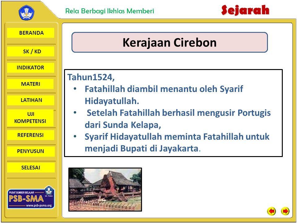BERANDA SK / KD INDIKATORSejarah Rela Berbagi Ikhlas Memberi MATERI LATIHAN UJI KOMPETENSI REFERENSI PENYUSUN SELESAI Kerajaan Cirebon Tahun1524, Fata
