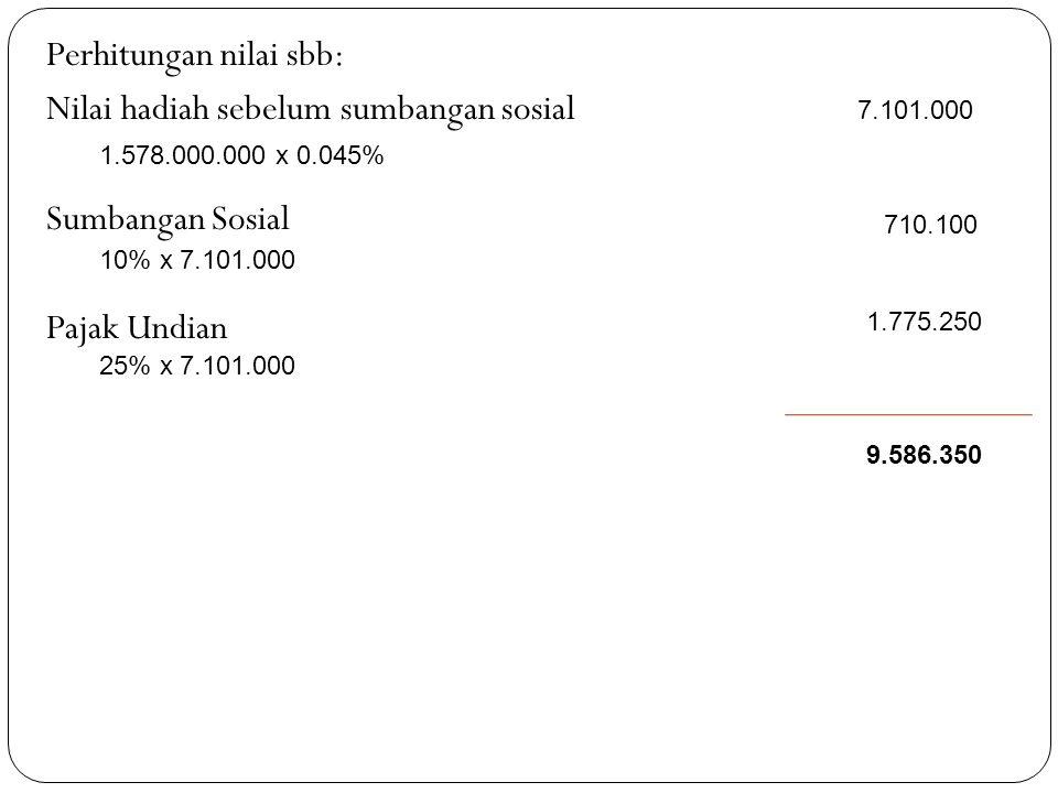 Perhitungan nilai sbb: Nilai hadiah sebelum sumbangan sosial Sumbangan Sosial Pajak Undian 1.578.000.000 x 0.045% 7.101.000 10% x 7.101.000 710.100 25