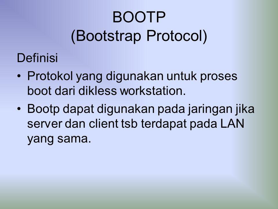 BOOTP (Bootstrap Protocol) Definisi Protokol yang digunakan untuk proses boot dari dikless workstation.