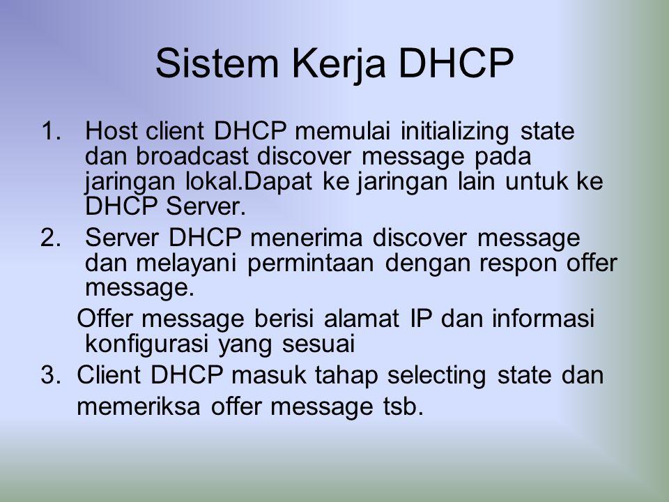 Sistem Kerja DHCP 1.Host client DHCP memulai initializing state dan broadcast discover message pada jaringan lokal.Dapat ke jaringan lain untuk ke DHCP Server.