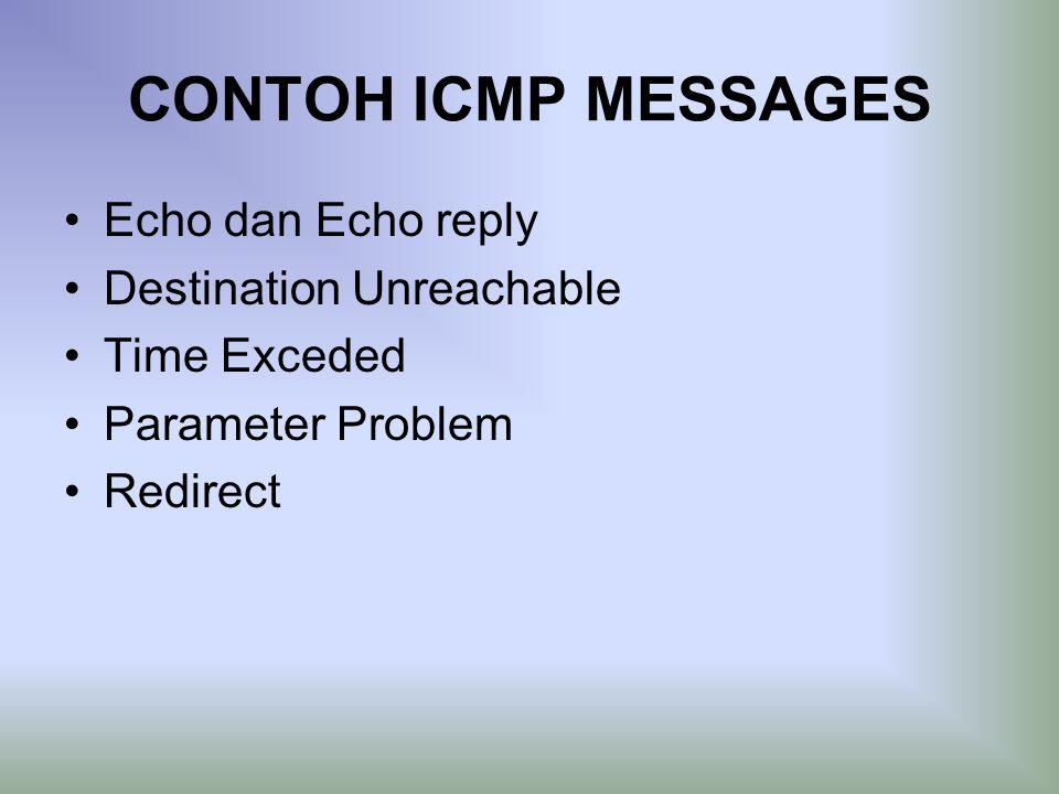 CONTOH ICMP MESSAGES Echo dan Echo reply Destination Unreachable Time Exceded Parameter Problem Redirect