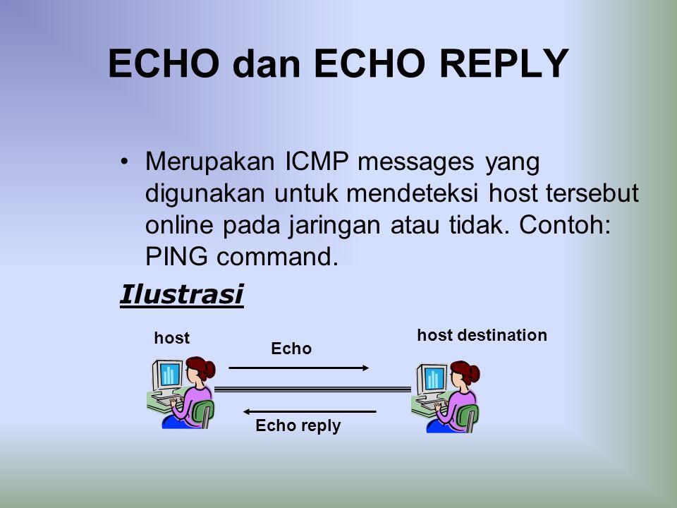 ECHO dan ECHO REPLY Merupakan ICMP messages yang digunakan untuk mendeteksi host tersebut online pada jaringan atau tidak.