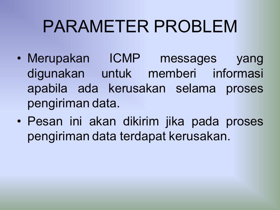 PARAMETER PROBLEM Merupakan ICMP messages yang digunakan untuk memberi informasi apabila ada kerusakan selama proses pengiriman data.