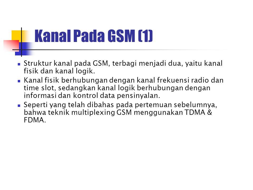 Kanal Pada GSM (1) Struktur kanal pada GSM, terbagi menjadi dua, yaitu kanal fisik dan kanal logik. Kanal fisik berhubungan dengan kanal frekuensi rad