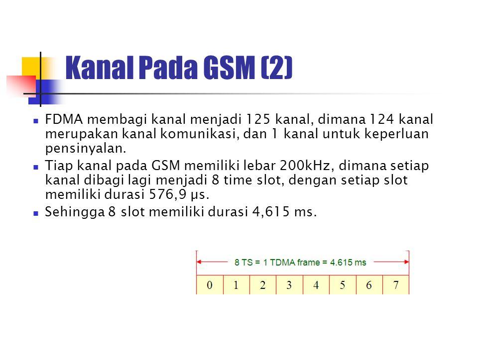 Kanal Pada GSM (2) FDMA membagi kanal menjadi 125 kanal, dimana 124 kanal merupakan kanal komunikasi, dan 1 kanal untuk keperluan pensinyalan. Tiap ka