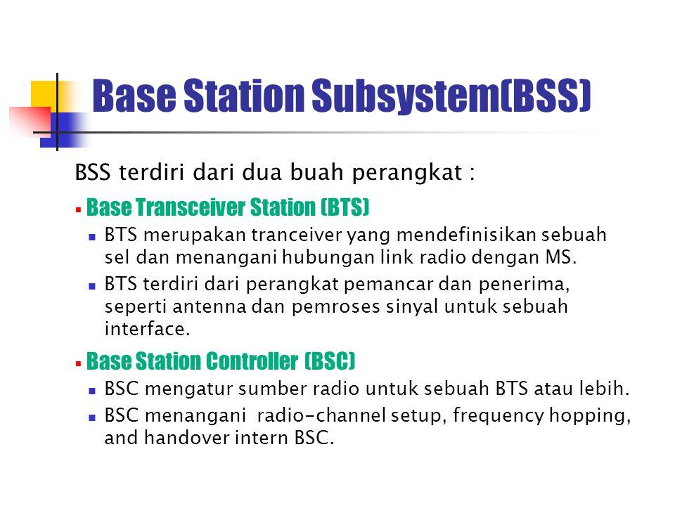 Base Station Subsystem(BSS) BSS terdiri dari dua buah perangkat :  Base Transceiver Station (BTS) BTS merupakan tranceiver yang mendefinisikan sebuah