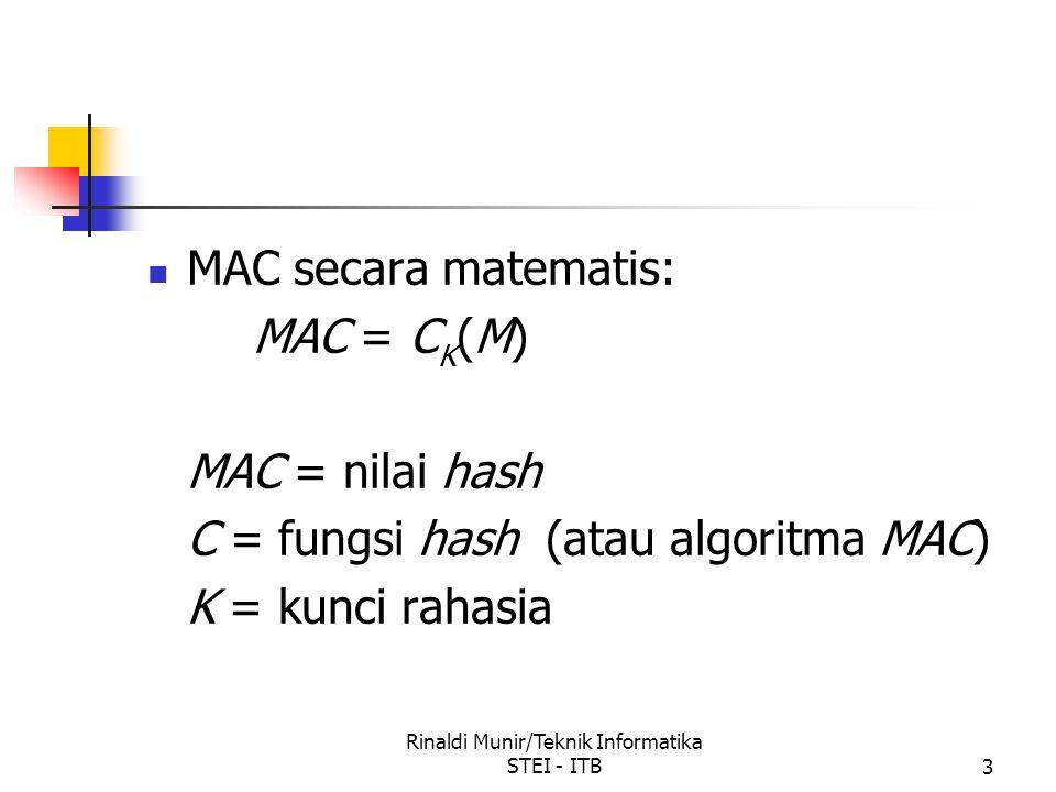 Rinaldi Munir/Teknik Informatika STEI - ITB3 MAC secara matematis: MAC = C K (M) MAC = nilai hash C = fungsi hash (atau algoritma MAC) K = kunci rahas