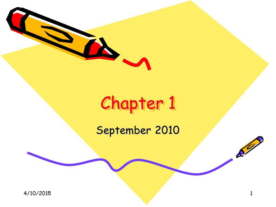 4/10/20151 Chapter 1 September 2010