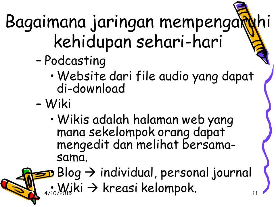 4/10/201511 Bagaimana jaringan mempengaruhi kehidupan sehari-hari –Podcasting Website dari file audio yang dapat di-download –Wiki Wikis adalah halaman web yang mana sekelompok orang dapat mengedit dan melihat bersama- sama.