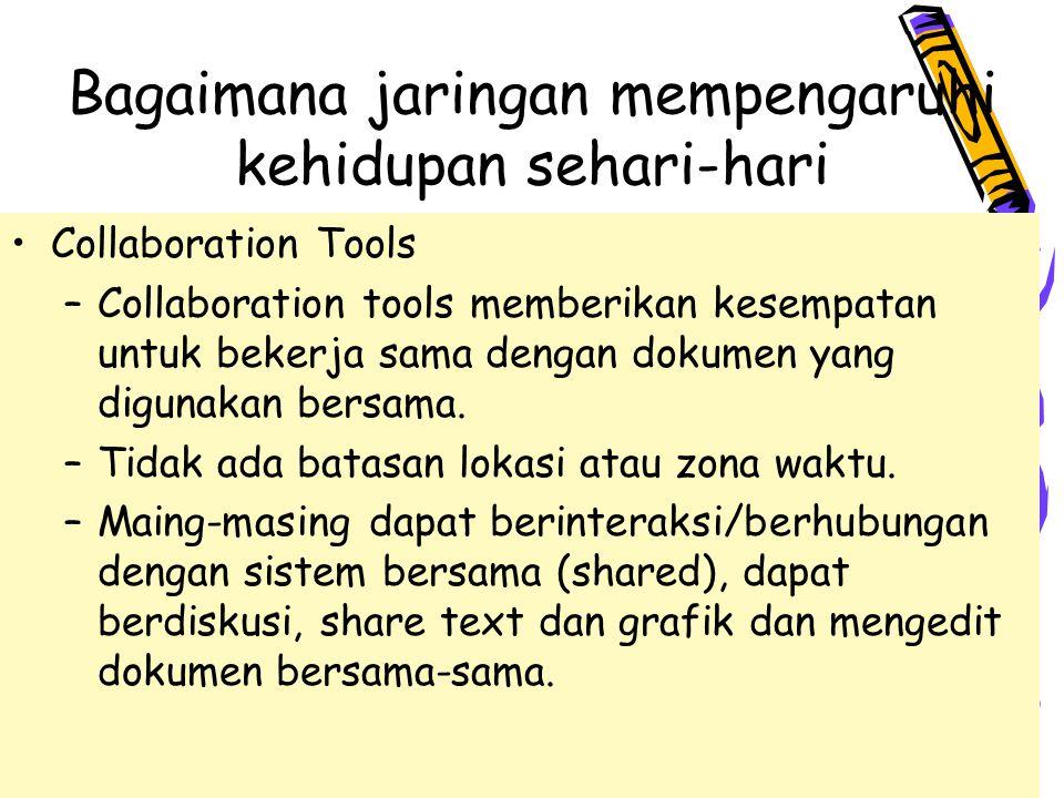 4/10/201512 Bagaimana jaringan mempengaruhi kehidupan sehari-hari Collaboration Tools –Collaboration tools memberikan kesempatan untuk bekerja sama dengan dokumen yang digunakan bersama.