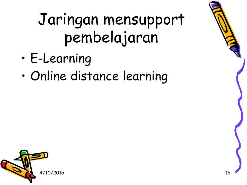 4/10/201515 Jaringan mensupport pembelajaran E-Learning Online distance learning