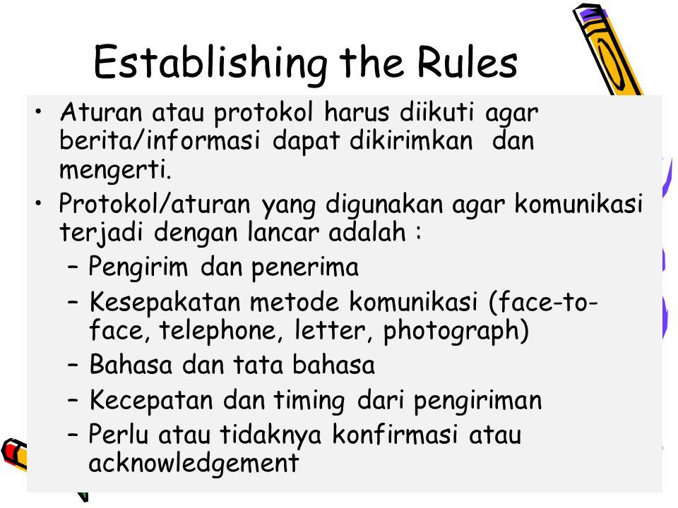 4/10/201525 Establishing the Rules Aturan atau protokol harus diikuti agar berita/informasi dapat dikirimkan dan mengerti.