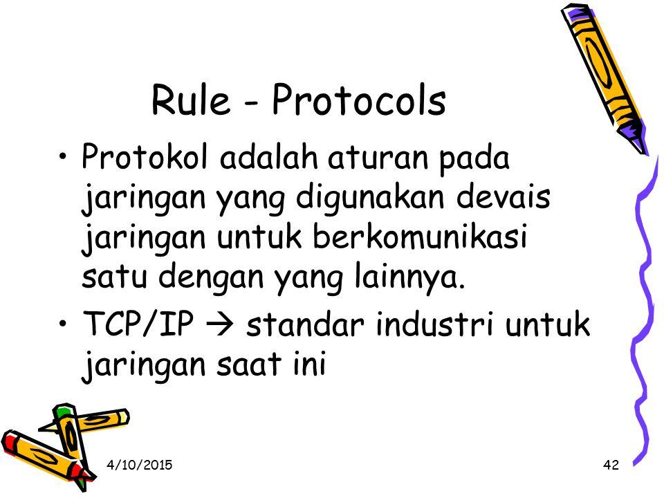 Protokol adalah aturan pada jaringan yang digunakan devais jaringan untuk berkomunikasi satu dengan yang lainnya.